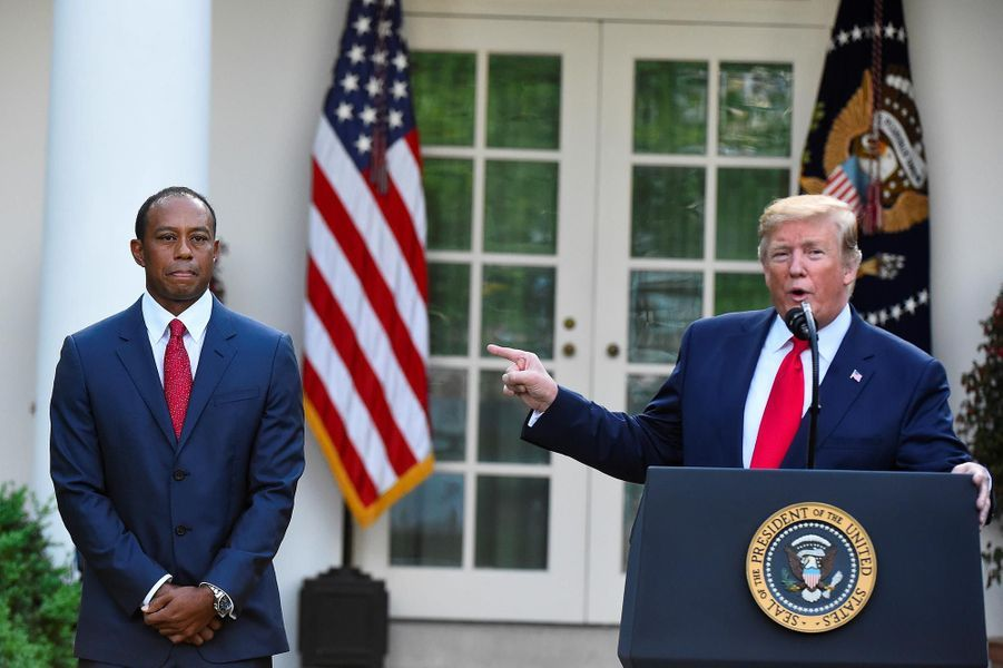 Tiger Woods et Donald Trump à la Maison-Blanche, le 6 mai 2019.