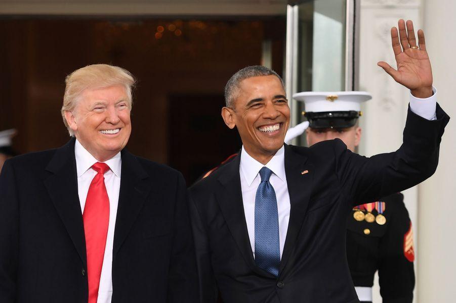 Donald Trump et Barack Obama à la Maison Blanche, le 20 janvier 2017.
