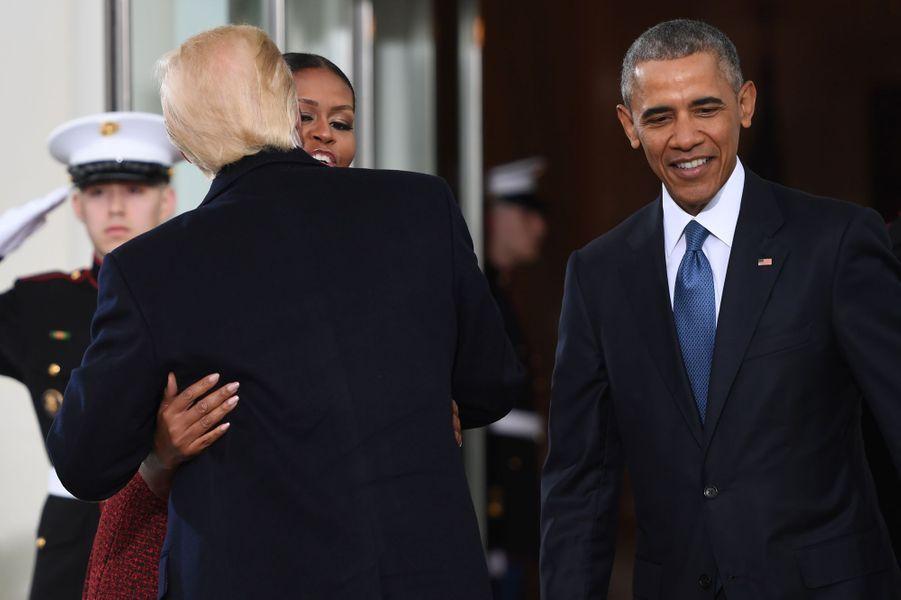 Michelle Obama, Donald Trump et Barack Obama à la Maison Blanche, le 20 janvier 2017.