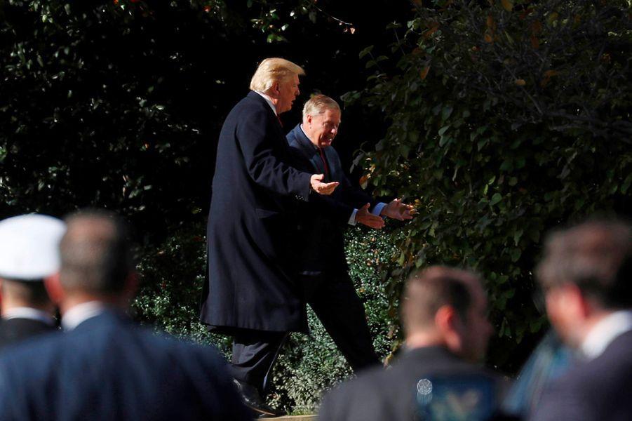 Donald Trump et le sénateur de la Caroline du Sud Lindsey Graham, le 8 novembre 2018.