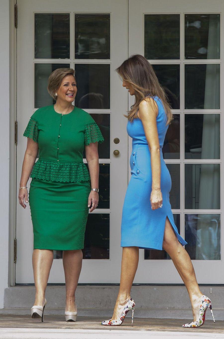 Lorena Castillo de Varela etMelania Trumpà la Maison Blanche, le 19 juin 2017.