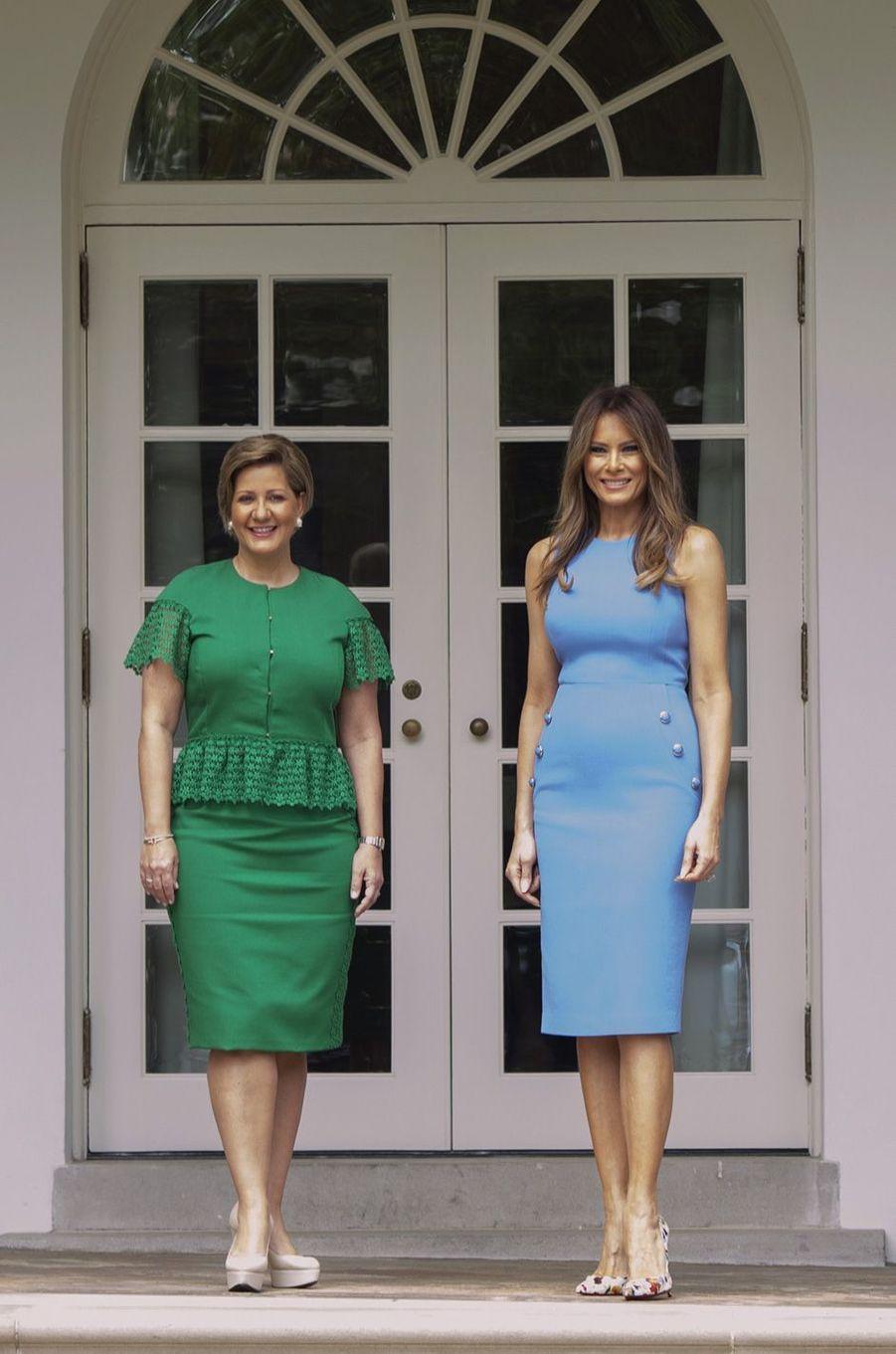Lorena Castillo de Varela et Melania Trumpà la Maison Blanche, le 19 juin 2017.