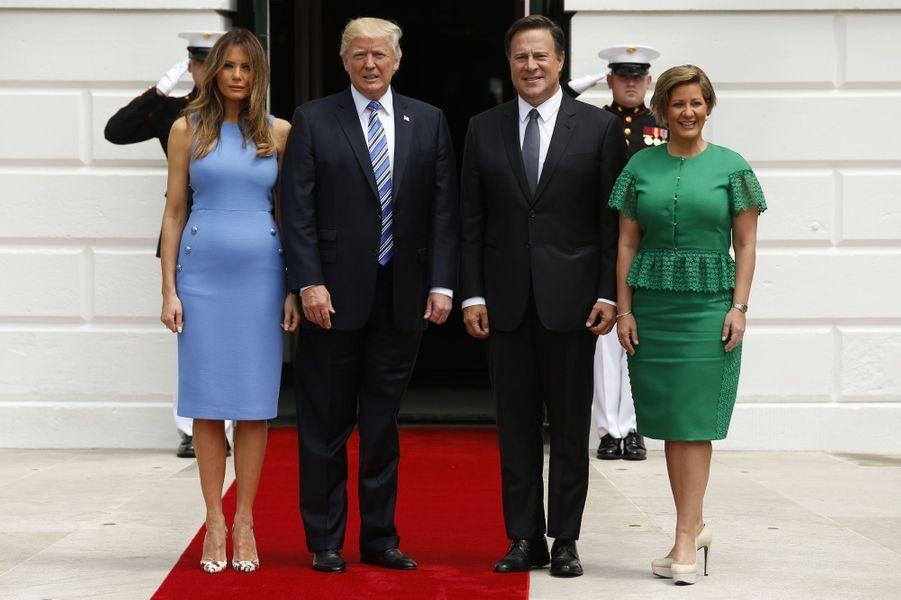 Melania et Donald Trump et Juan Carlos Varela et Lorena Castillo à la Maison Blanche, le 19 juin 2017.
