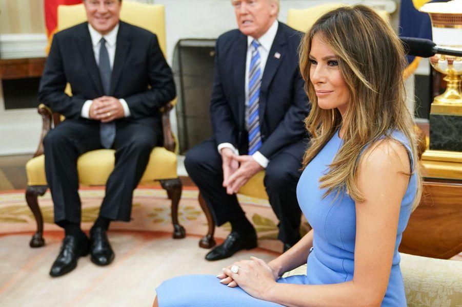 Juan Carlos Varela, Donald et Melania Trump dans le Bureau ovale, le 19 juin 2017.