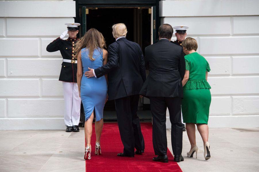 Melania et Donald Trump et Juan Carlos Varela etLorena Castilloà la Maison Blanche, le 19 juin 2017.