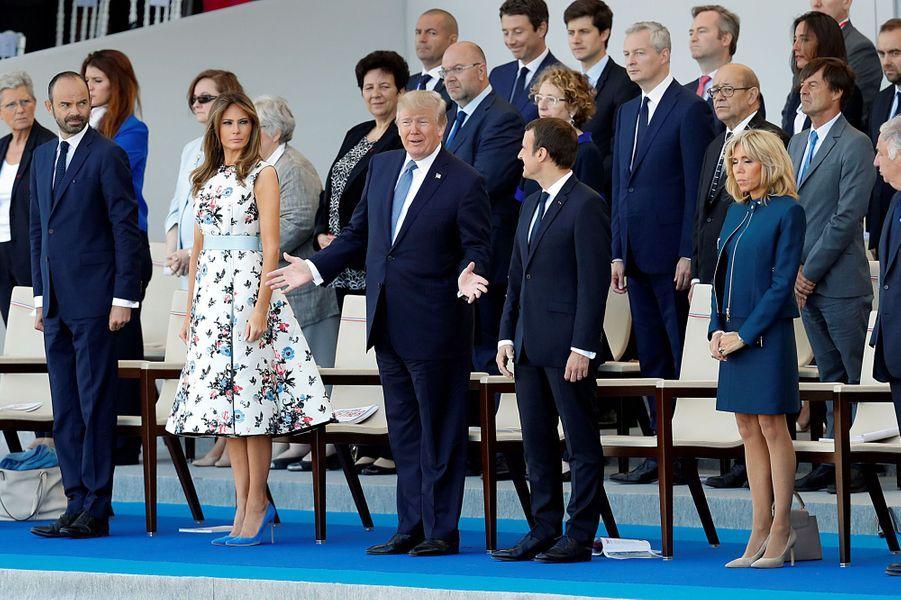 Edouard Philippe, Melania Trump, Donald Trump, Emmanuel Macron et Brigitte Macron à Paris, le 14 juillet 2017.