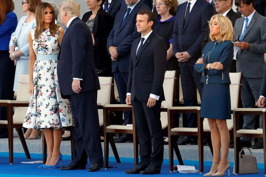 Melania Trump, Donald Trump, Emmanuel Macron et Brigitte Macron à Paris, le 14 juillet 2017.