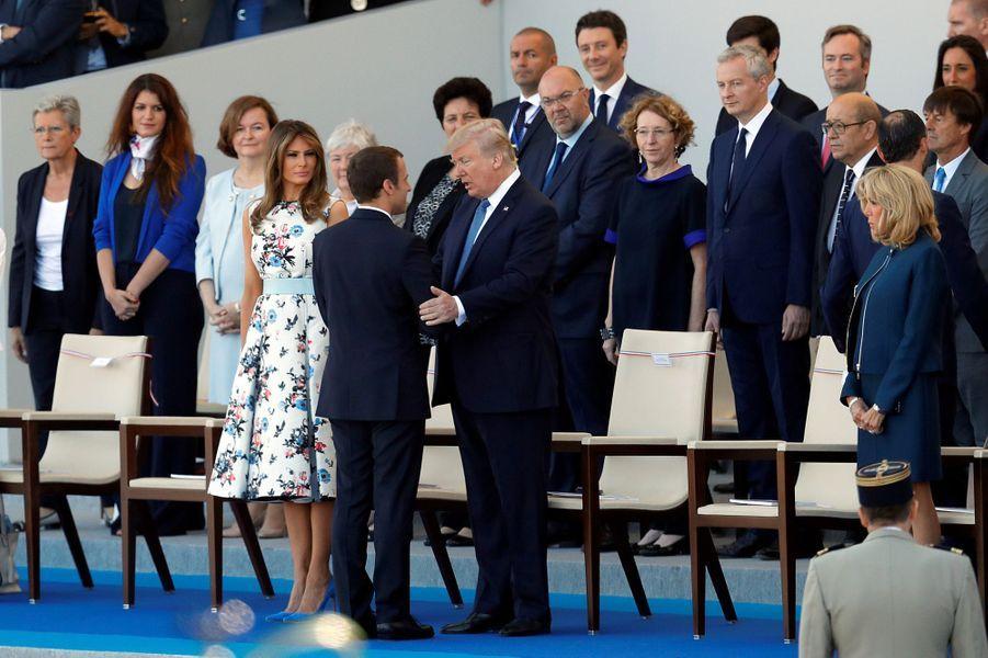 Emmanuel Macron, Donald etMelania Trump à Paris, le 14 juillet 2017.