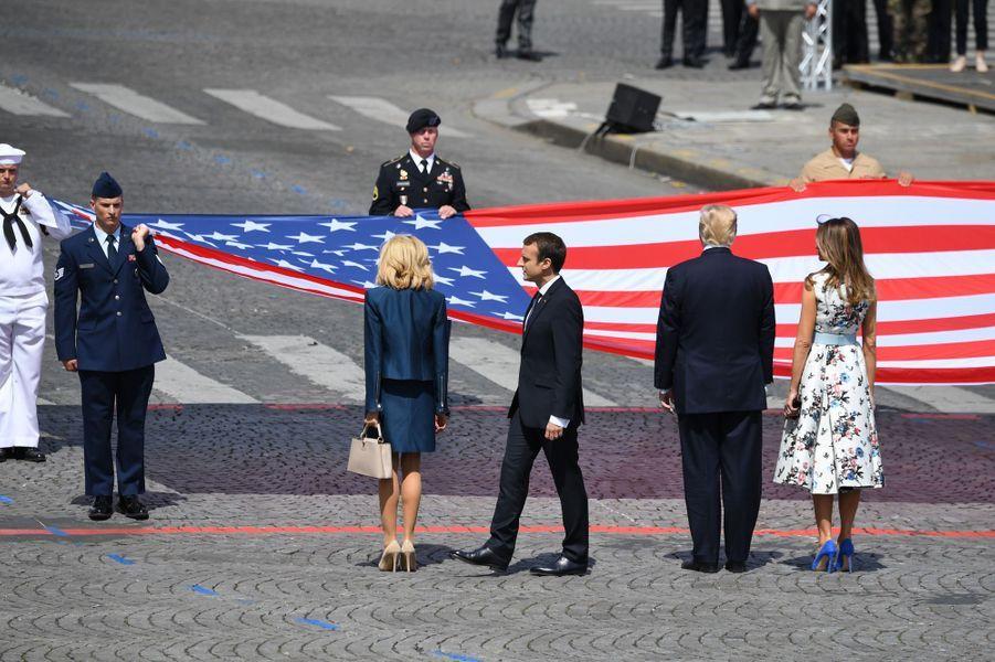 Brigitte Macron, Emmanuel Macron, Donald Trump et Melania Trump à Paris, le 14 juillet 2017.