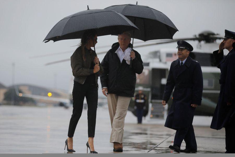 Donald et Melania Trump ont quitté la Maison Blanche pour le Texas, le 29 août 2017.