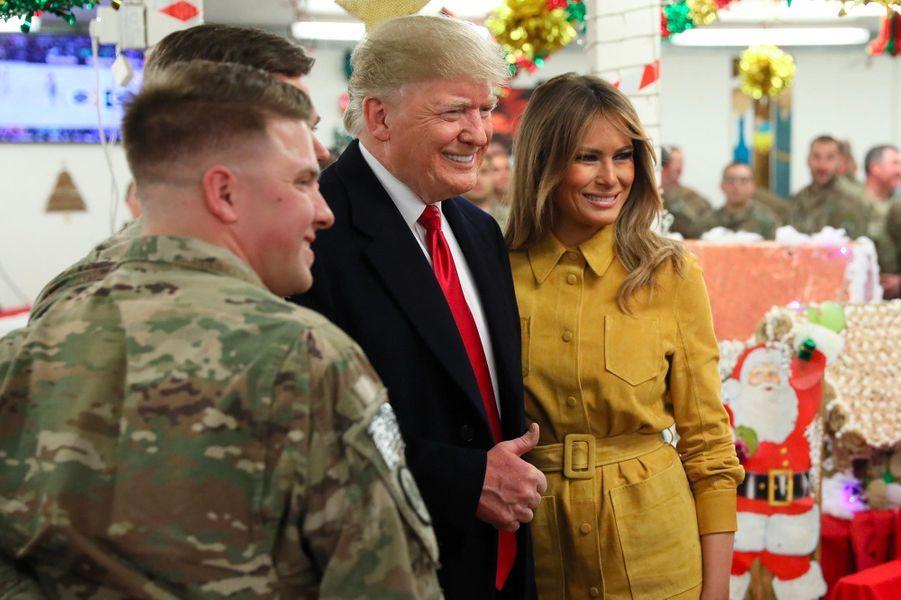 Donald et Melania Trump sur la base aérienne Al-Asad, en Irak, le 26 décembre 2018.