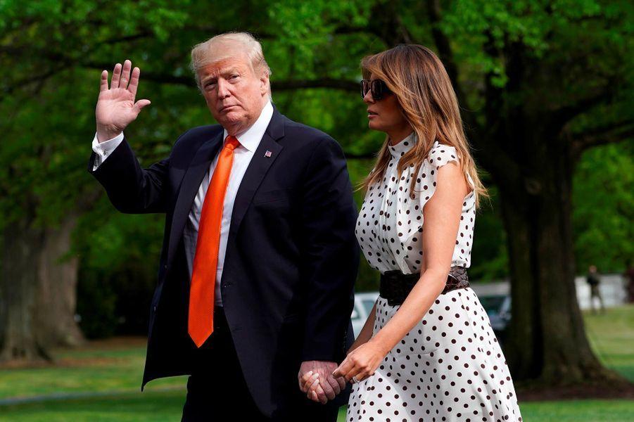 Donald et Melania Trump de retour à la Maison-Blanche, le 24 avril 2019.