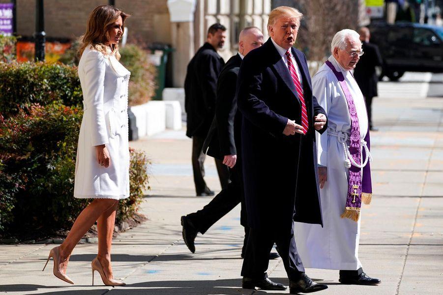 Donald et Melania Trump se sont rendus à l'église à l'occasion de la Saint-Patrick, à Washington, le 17 mars 2019.