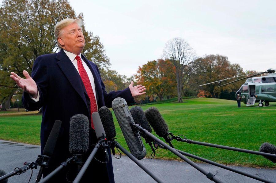Donald Trump quittant la Maison-Blanche, le 9 novembre 2018.
