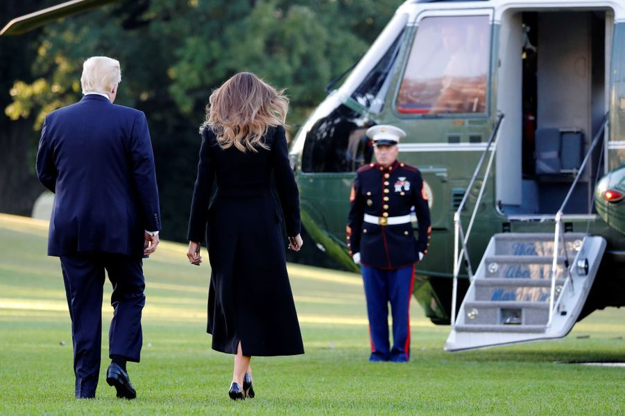 Donald et Melania Trump quittant la Maison Blanche, le 4 octobre 2017.