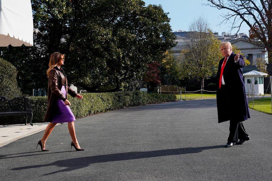 Melania et Donald Trump quittant la Maison-Blanche, le 29 novembre 2018.