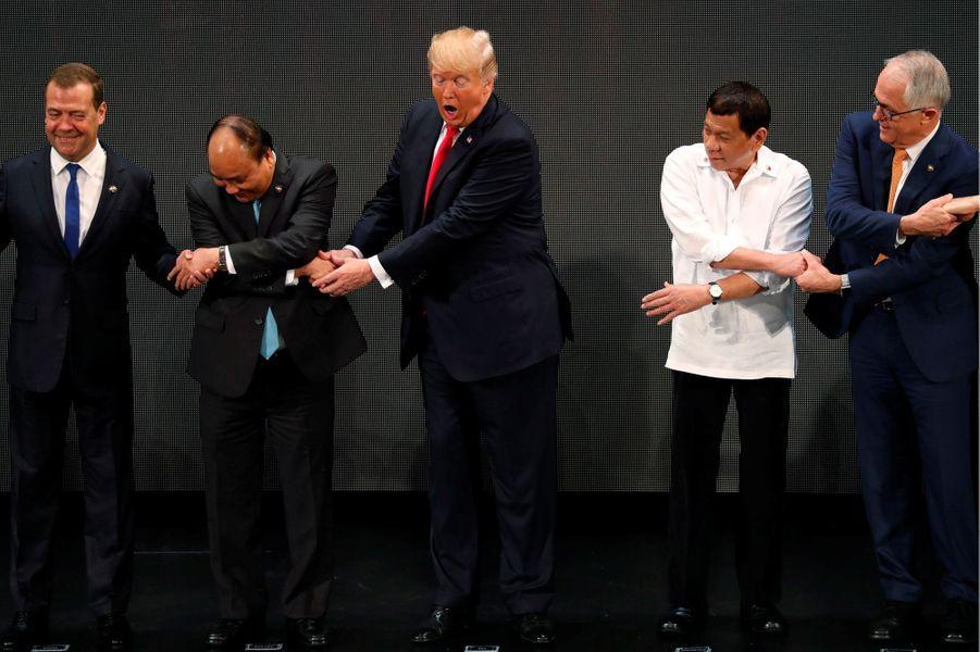 Donald Trump et Rodrigo Duterte à Manille, le 13 novembre 2017.