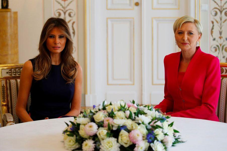 Melania Trump et laPremière dame polonaiseAgata Kornhauser-Duda, le 6 juillet 2017.