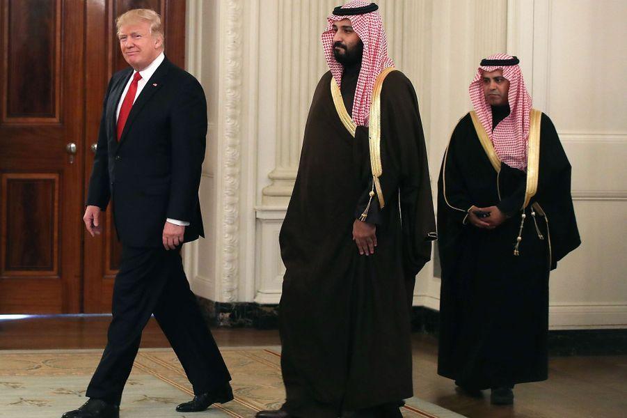 Donald Trump et levice-prince héritier saoudien Mohammed ben Salman à la Maison Blanche, le 14 mars 2017.