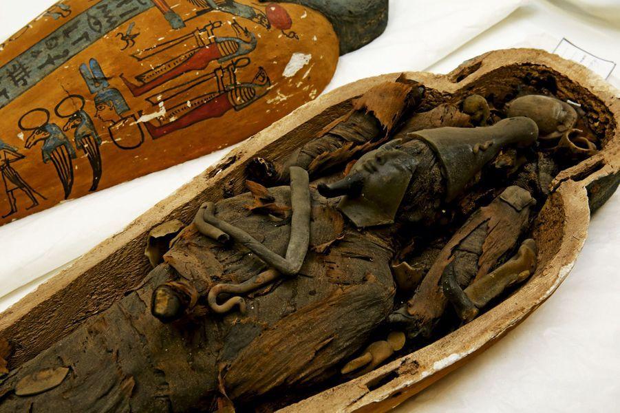 Dans son sarcophage, une représentation d'Osiris avec son sceptre et sa couronne. Elle est constituée d'épis de blé, de terre et mesure 50 centimètres.