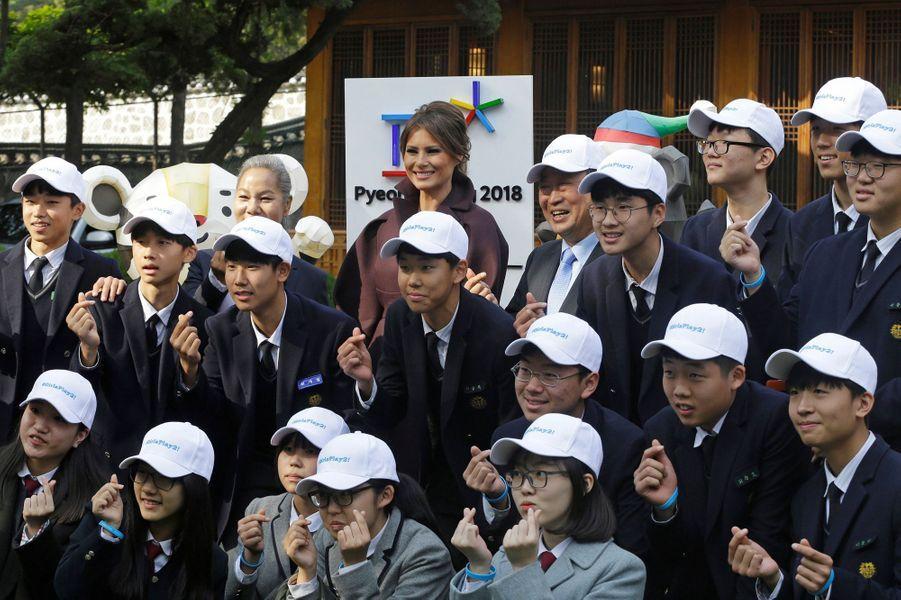 Melania Trump à la résidence de l'ambassadeur américain en Corée du Sud à Séoul, le 7 novembre 2017.