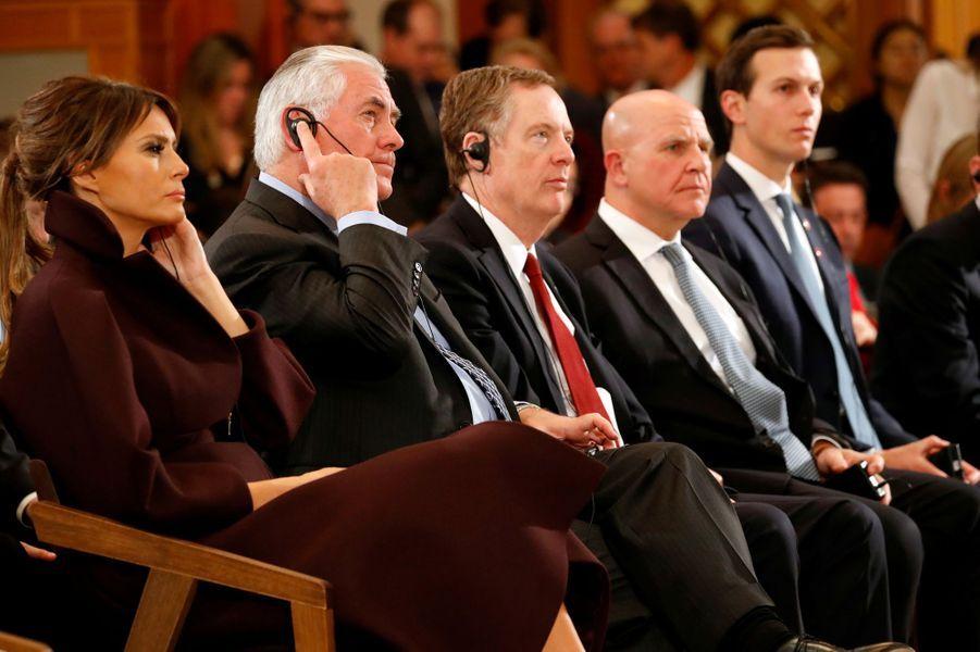 Melania Trump, Rex Tillerson et Jared Kushnerà la Maison Bleue, à Séoul, le 7 novembre 2017.