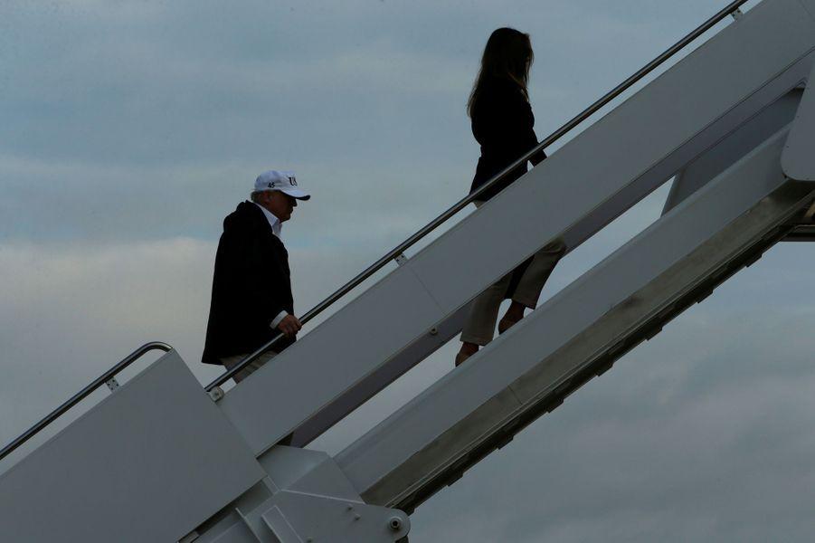 Donald et Melania Trump quittant la Maison Blanche, le 14 septembre 2017.