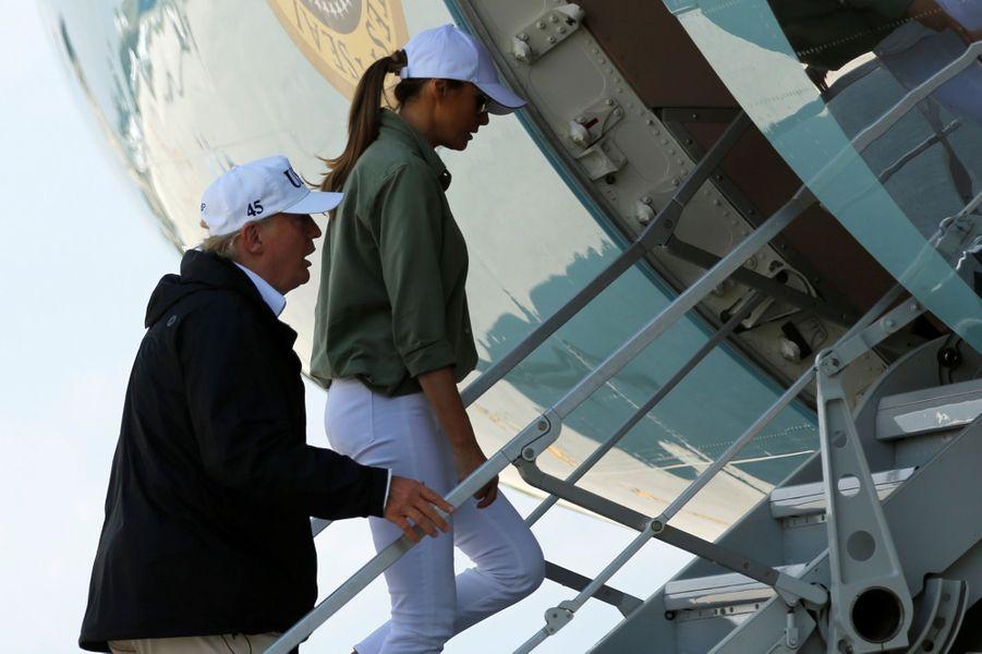 Donald et Melania Trump quittant la Floride, le 14 septembre 2017.