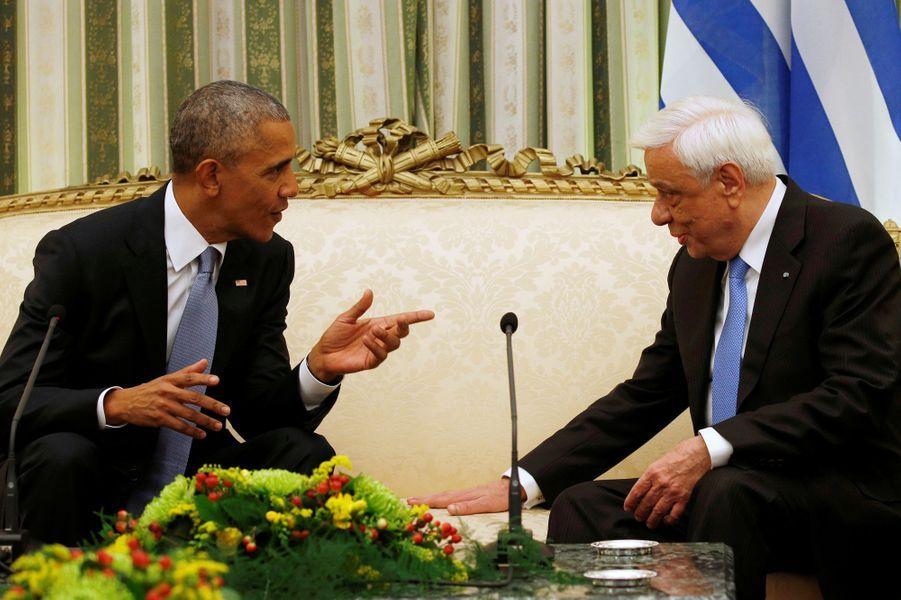 Barack Obama etProkopis Pavlopoulos à Athènes, le 15 novembre 2016.