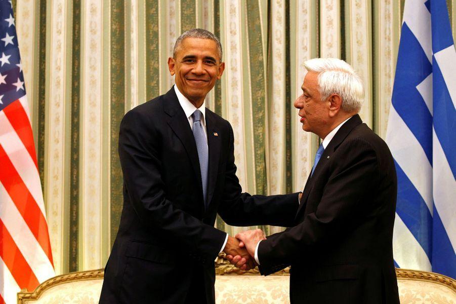 Barack Obama et Prokopis Pavlopoulos à Athènes, le 15 novembre 2016.