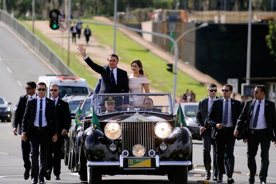 Jair Bolsonaro, dans sa Rolls Royce décapotable, le 1er janvier 2019.