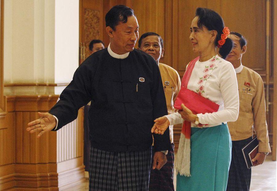 Aung San Suu Kyi et le président de la chambre basse du Parlement Shwe Mann