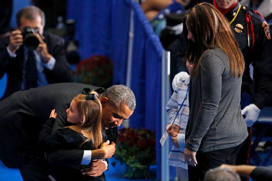 Barack Obama à une cérémonie en hommage aux pompiers disparus à Emmitsburg (Maryland), le 4 octobre 2015.