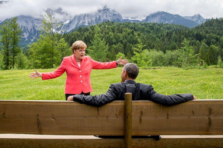 8 juin. Angela Merkel et Barack Obama au sommet du G8 à Krün, en Allemagne