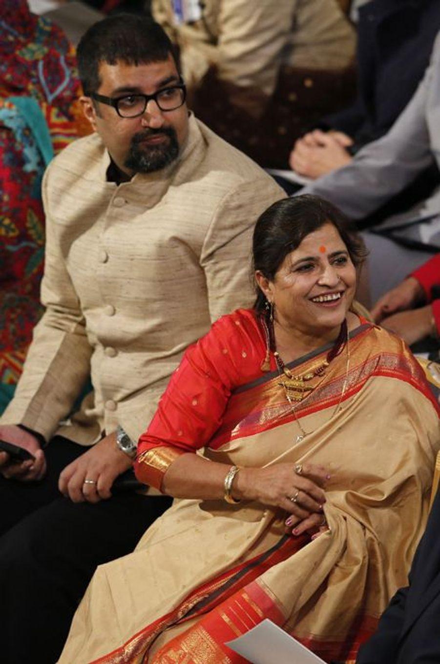 L'épouse de Kailash Satyarthi, qui a reçu le prix Nobel de la Paix ce mercredi à Oslo