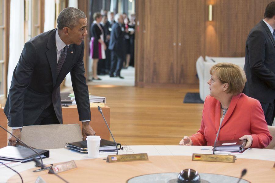 Barack Obama et Angela Merkel au sommet du G7 en Bavière