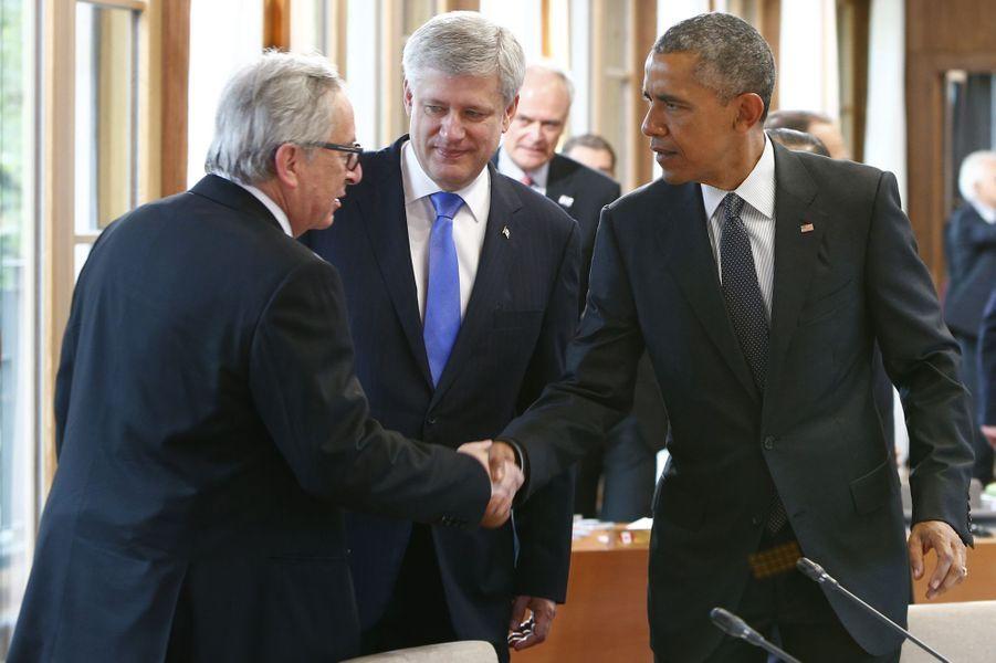 Jean-Claude Juncker, Stephen Harper et Barack Obama au sommet du G7 en Bavière
