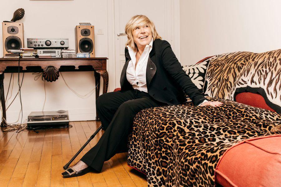 """Paris, France, 12 septembre 2014 --- La chanteuse anglaise Marianne FAITHFULL, 67 ans, photographiée chez elle à l'occasion de la sortie de son 17e album studio, """"Give My Love to London"""" (Naïve), dans les bacs le 29 septembre. L'ancienne égérie du Swinging London, qui célèbre ses 50 ans de carrière, entame une nouvelle tournée à partir du 9 octobre."""