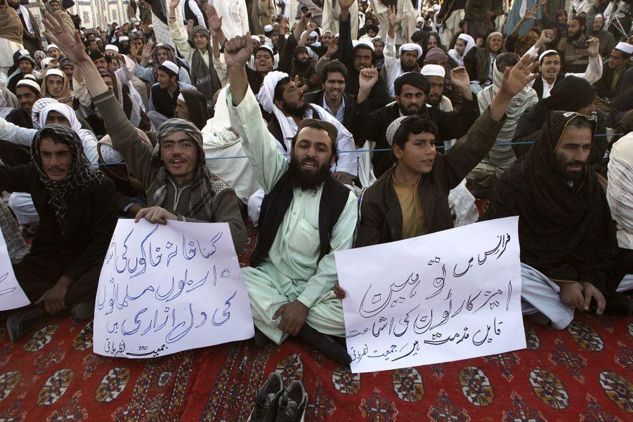 Manifestation contre la nouvelle caricature publiée dans Charlie Hebdo à Quetta au Pakistan