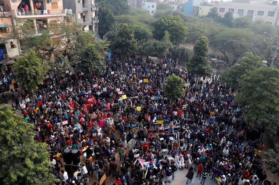 Manifestation à New Delhi, en Inde, le 22 décembre 2019.
