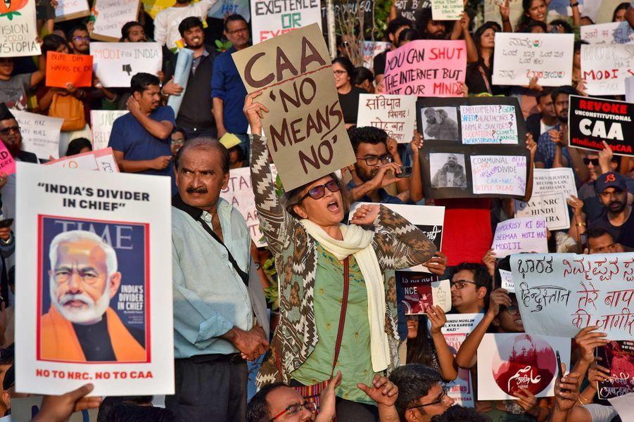 Manifestation à Bangalore, en Inde, le 22 décembre 2019.