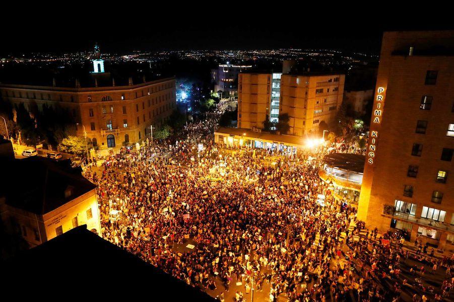 Manifestation à Jérusalem, le 25 juillet 2020.