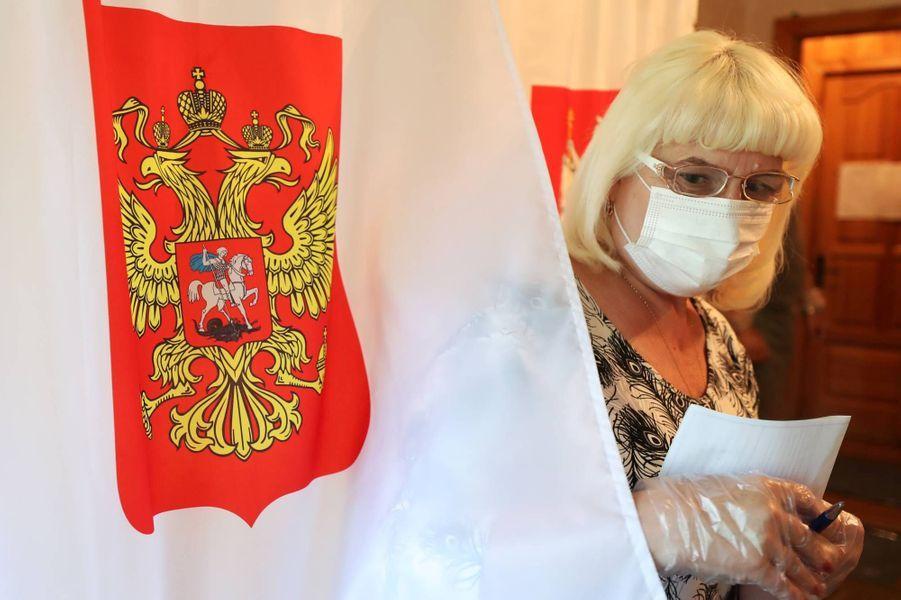 Vote dans le village deGigirevo, dans la région de Moscou, le 25 juin 2020.