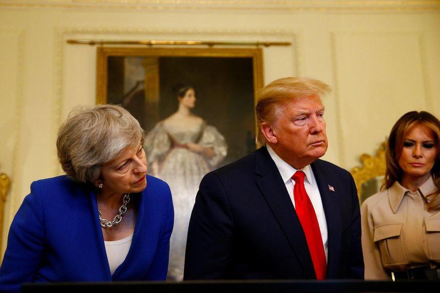 Donald et Melania Trump reçus au 10 Downing Street par Philip et Theresa May, le 4 juin 2019.