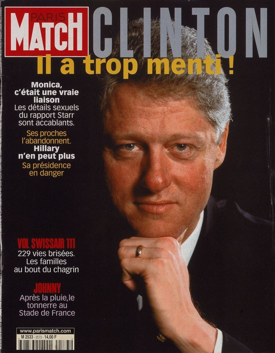 L'affaire Bill Clinton - Monica Lewinsky en couverture de Paris Match n°2573, daté du 17 septembre 1998