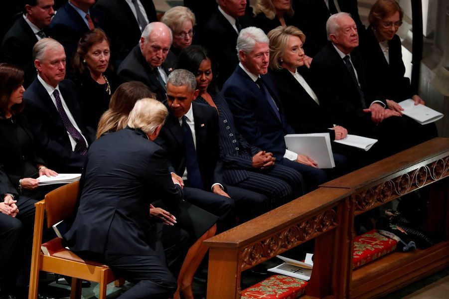 Donald et Melania Trump, Barack et Michelle Obama, Bill et Hillary Clinton et Jimmy Carter à Washington, le 5 décembre 2018.