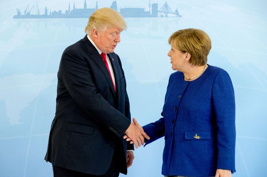 Donald Trump et Angela Merkel à Hambourg, le 6 juillet 2017.