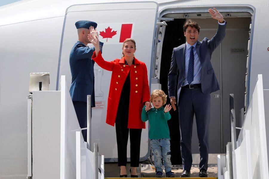 Justin Trudeau, sa femme Sophie Grégoire et leur fils Hadrien à Hambourg, le 6 juillet 2017.