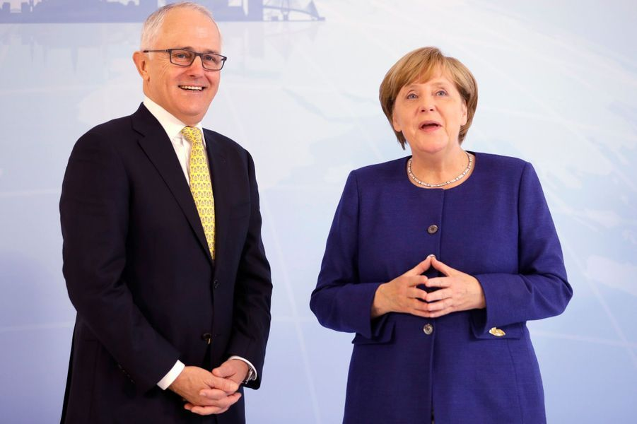 Malcolm Turnbull et Angela Merkel à Hambourg, le 6 juillet 2017.