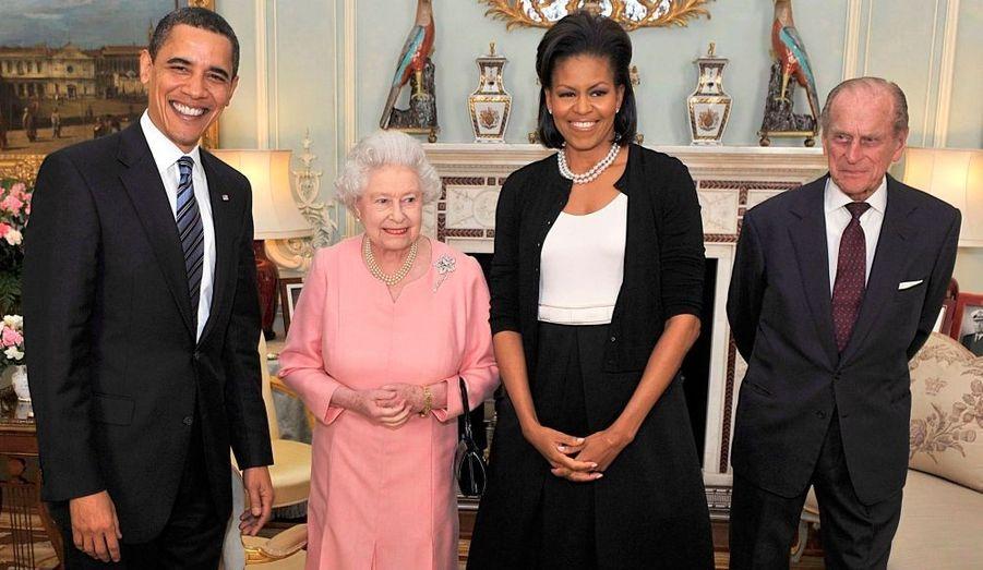 Barack et Michelle Obama, la reine Elisabeth et le Duc d'Edimbourgh